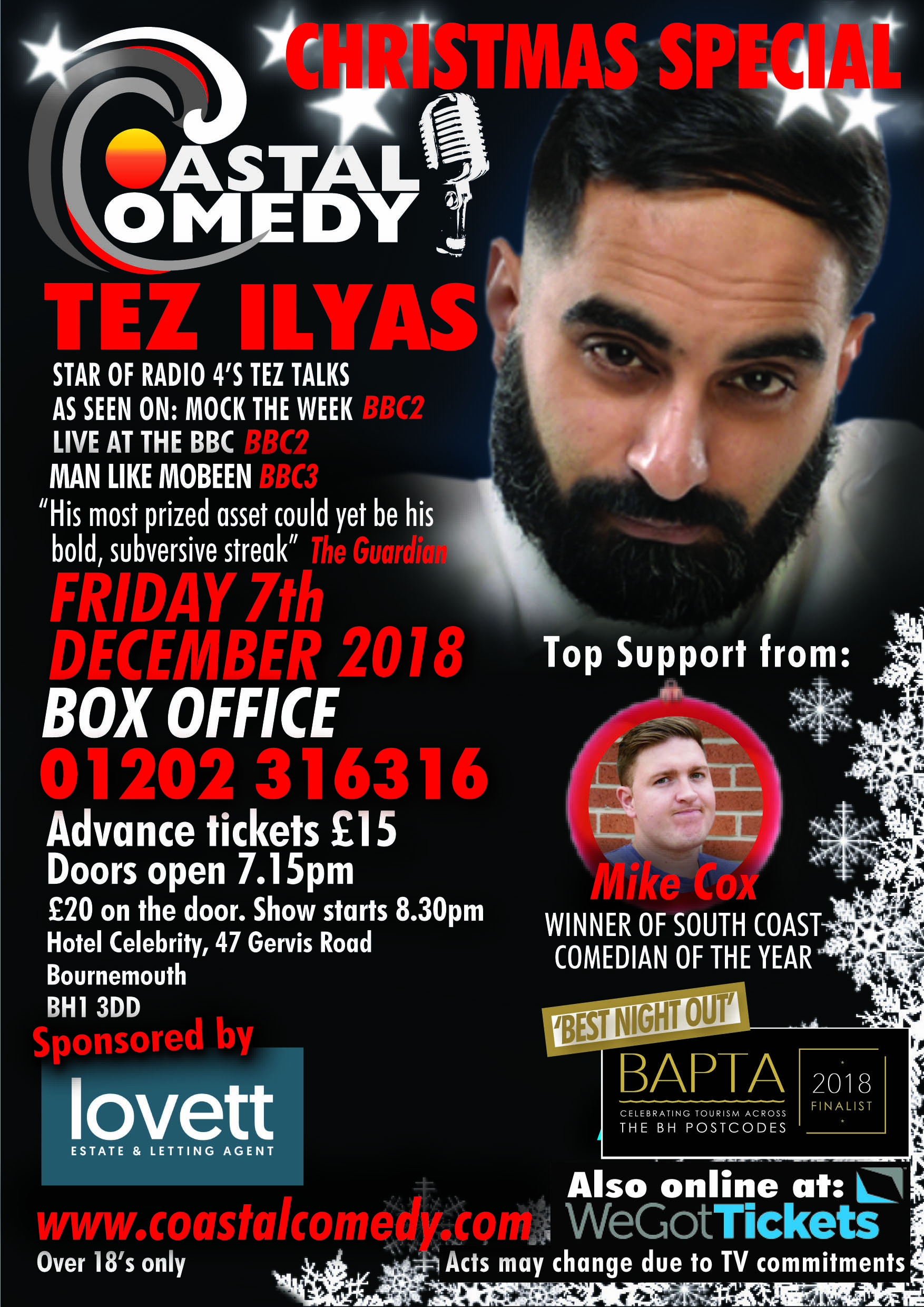 christmas party, comedy, standup, laugh out loud, pavillion, dorset, whatson,