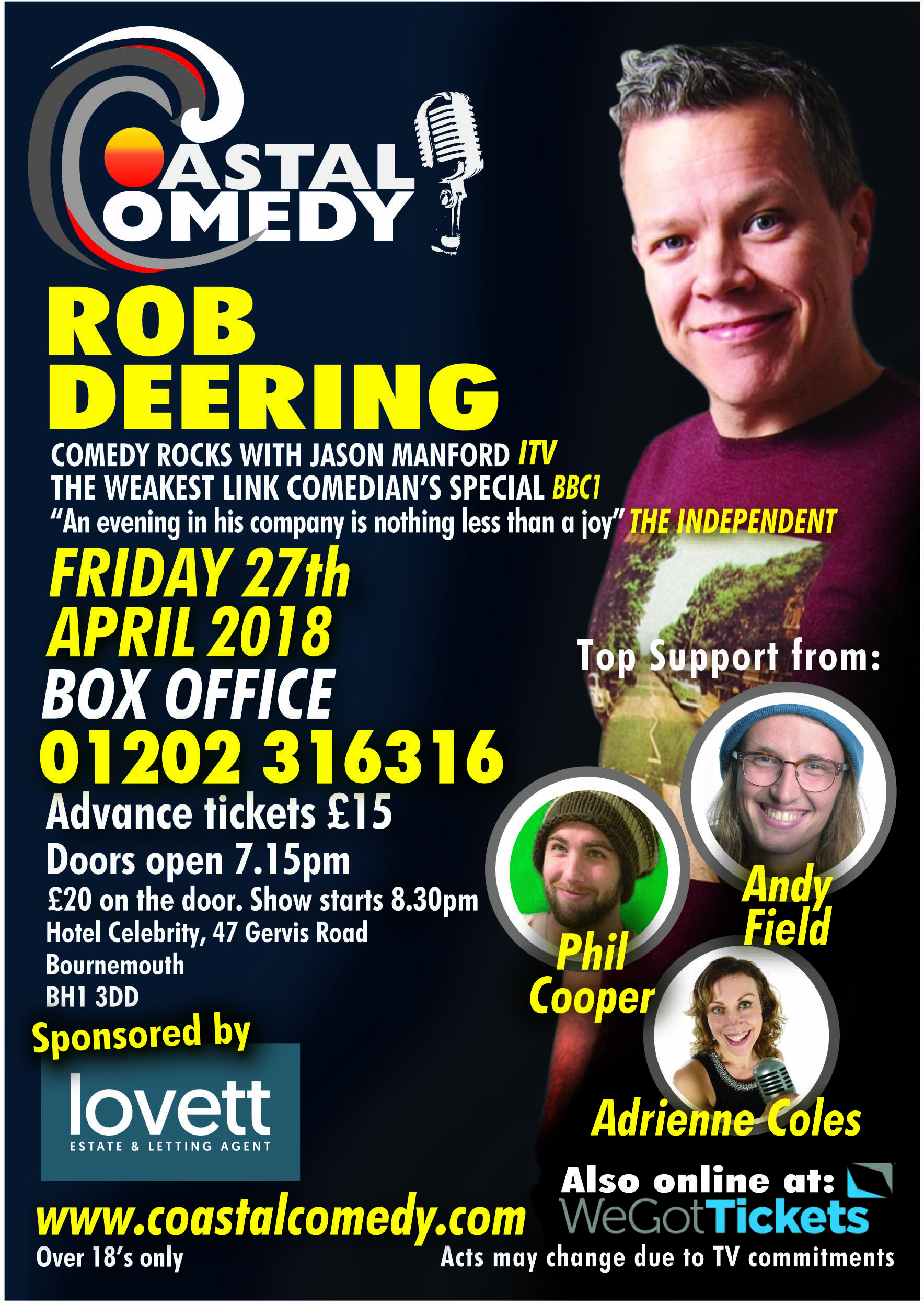 Rob Deering, comedy, comedian, comedienne, nightlife, Bournemouth, Hotel Celebrity, stand-up,