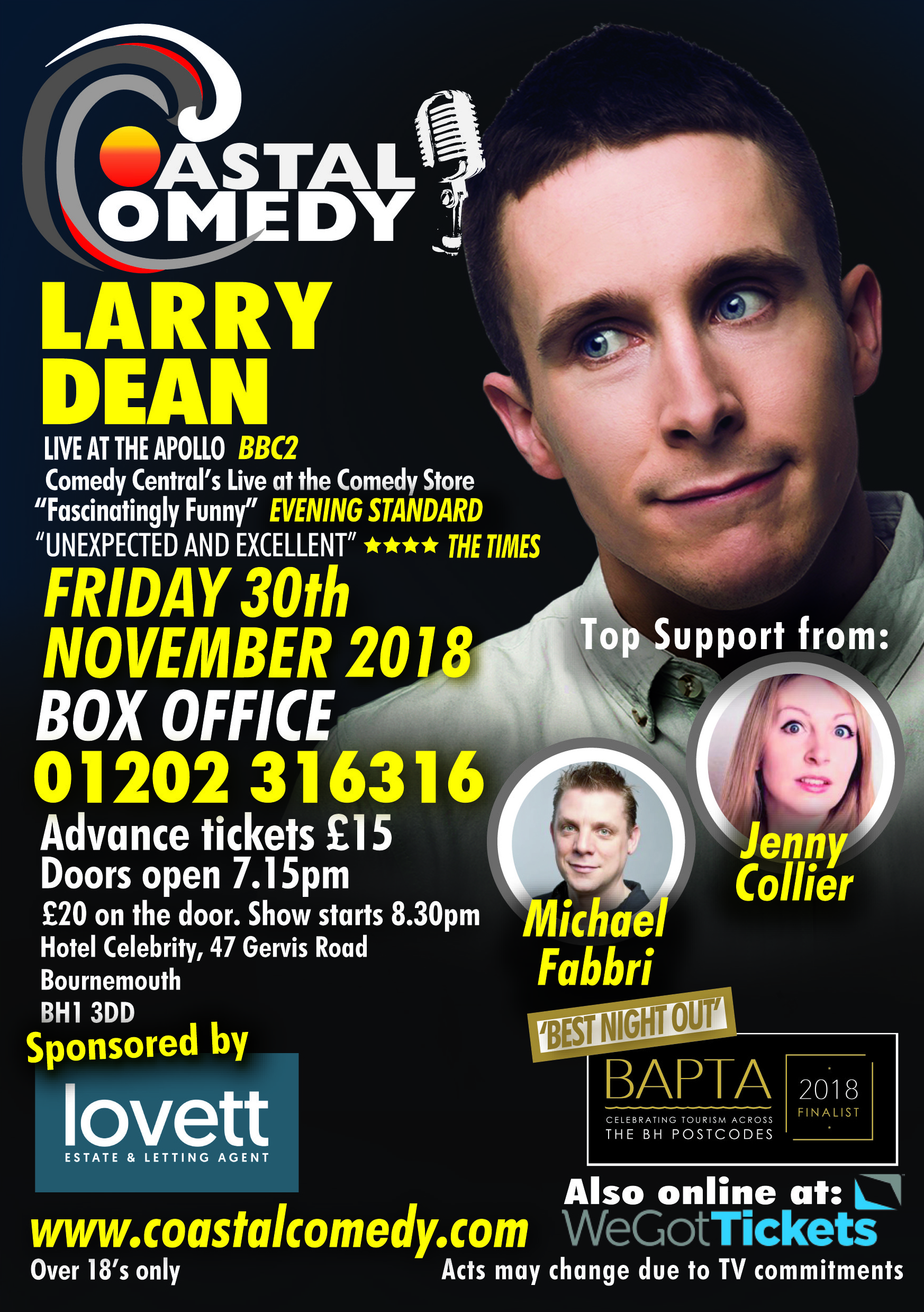 Bournemouth, larry Dean, coastal, dorset, hotel celebrity, comedy, best night out, LOL, pavillion, comic, stand-up, bournemouth, what's on, jokes, funny, lol,comic, comedian,