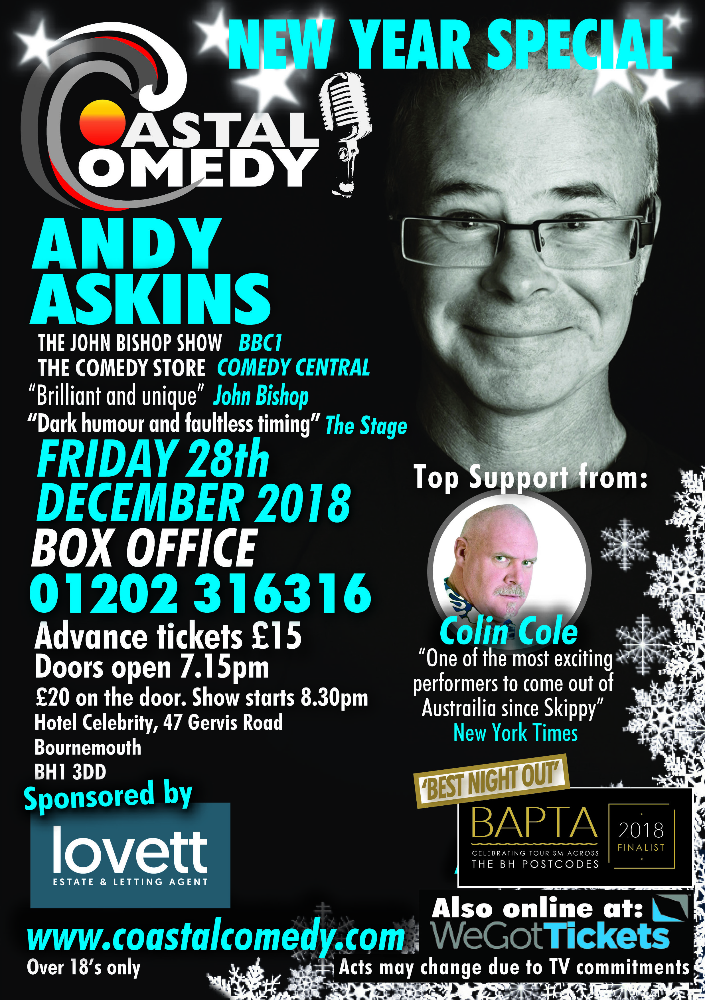 Bournemouth, New year celebration, 2018, coastal, dorset, hotel celebrity, comedy, best night out, LOL, pavillion, comic, stand-up, bournemouth, what's on, jokes, funny, lol,comic, comedian,