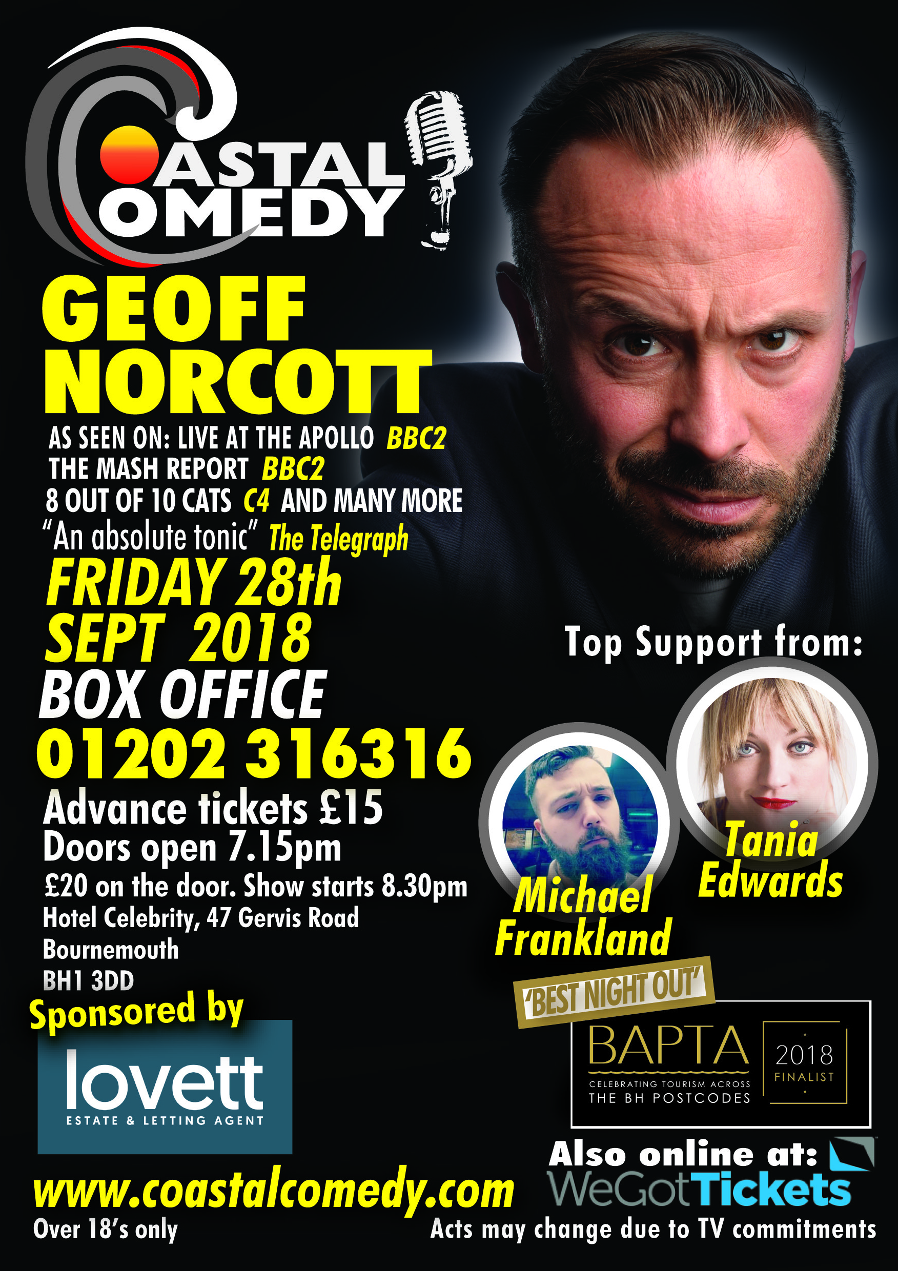 Geoff Norcott, comedy, best night out, LOL, pavillion, comic, stand-up, bournemouth, what's on, whats on,