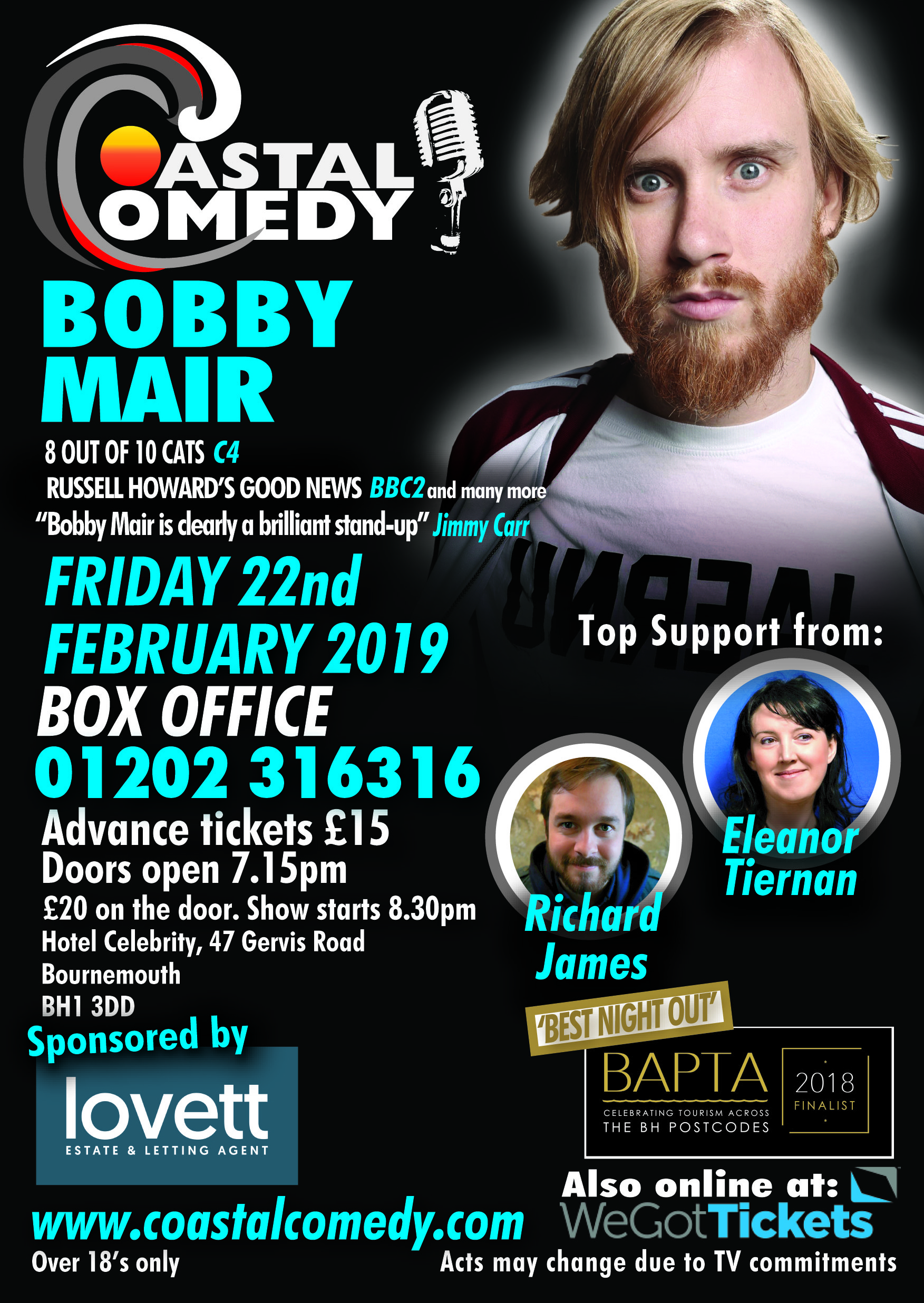 bobby mair, dorset, bournemouth, what's on, comedy, lol, standup, comedienne, Adrienne, BH stars,