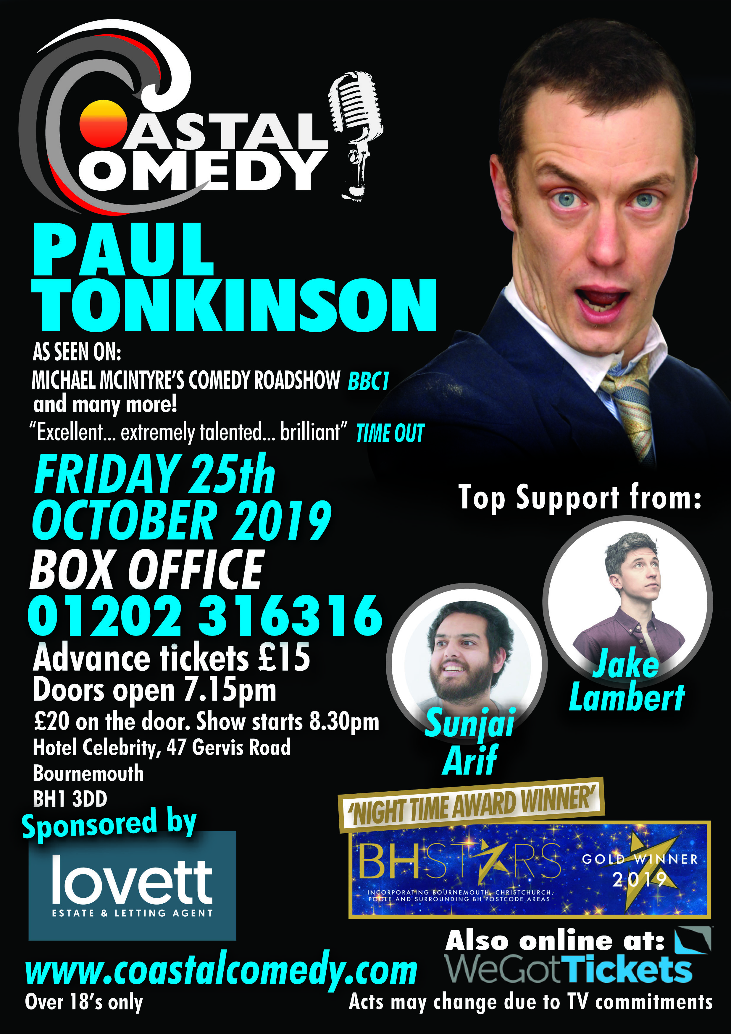 comedy club, bournemouth, paul tonkinson,lighthouse, tv headliner, poole, coastal comedy, lighthouse, standup,