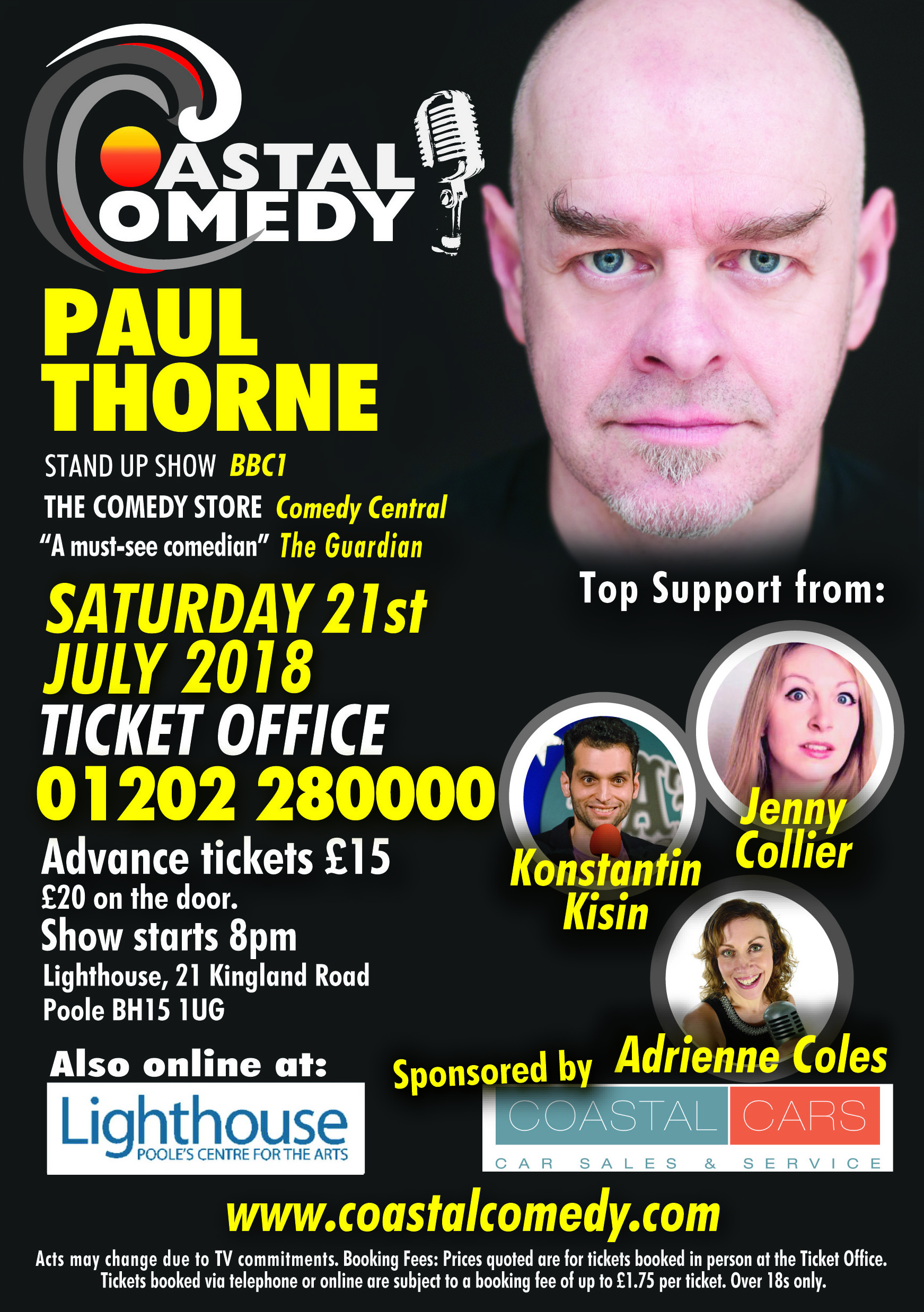 comedy, Lighthouse, bournemouth, poole, paul thorne, dorset, awards, BAPTAs, stand-up, lol, pavillion,Angela Barnes