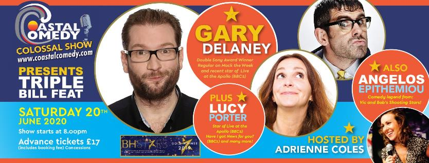 coastal comedy, gary delaney, angelos epithemiou, lucy porter, poole, lighthouse, comedy club,